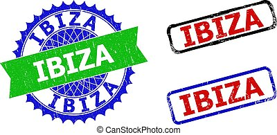 IBIZA Rosette and Rectangle Bicolor Stamp Seals with Corroded Surfaces