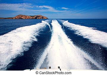 Ibiza Sa Conillera island from boat wake San Antonio - Ibiza...