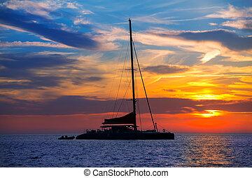 Ibiza san Antonio Abad catamaran sailboat sunset
