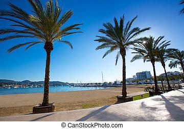 Ibiza san Antonio Abad de Portmany beach in Balearic