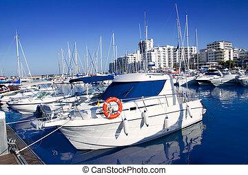 ibiza, san antonio, abad, marina, porto, em, azul