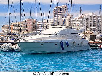Ibiza San Antonio de Portmany marina boats in Balearic islands