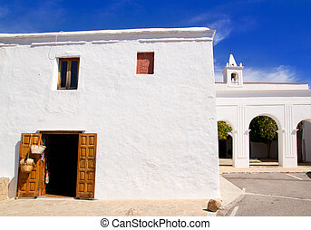 Ibiza San Miguel de Balansat white church Mediterranean...