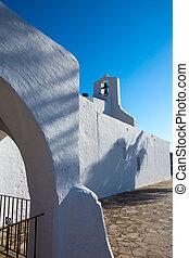 Ibiza Sant Carles de Peralta white church in Balearic