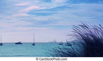 Ibiza sea sunset view from coast