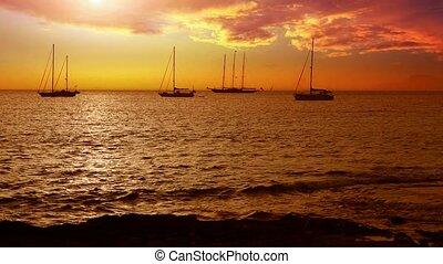 Ibiza sea sunset view from coast - Ibiza sea sunset view...