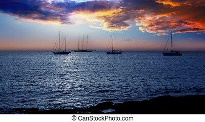 Ibiza sea sunset view from island - Ibiza sea sunset view...