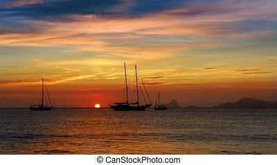 Ibiza sea sunset view from island