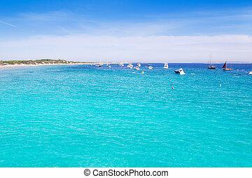 Ibiza Ses Salines south turquoise beach - Ibiza Ses Salines...