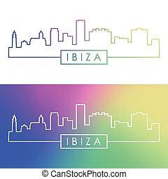 Ibiza skyline. Colorful linear style.