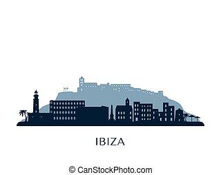 Ibiza skyline, monochrome silhouette.