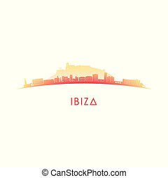 Ibiza skyline silhouette.