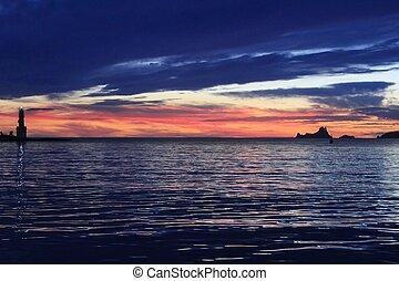 ibiza sunset Es Vedra from Formentera balearic