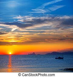 Ibiza sunset Es Vedra view and fisherboat formentera - Ibiza...