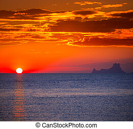 Ibiza sunset Es Vedra view from Formentera la Savina red...