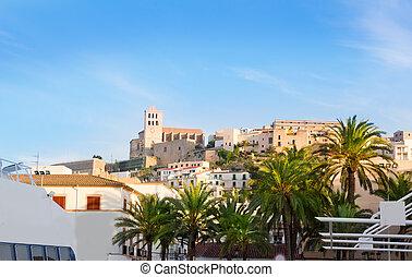 Ibiza town of Eivissa with palm trees