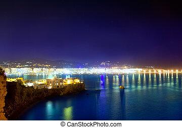 Ibiza town port blue sea night lights