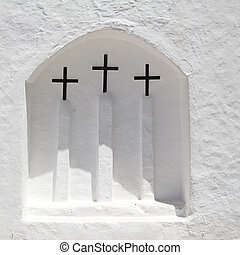 ibiza, witte , kerk, in, sant, carles, peralta