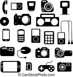 icône, à, électronique, gadgets., vecteur, illustration.