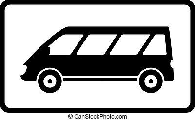 icône, à, noir, mini-autobus