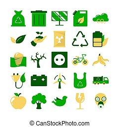 icône, écologie, set., environnement, pictogramme, collection