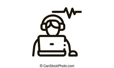 icône, écoute, audio, animation