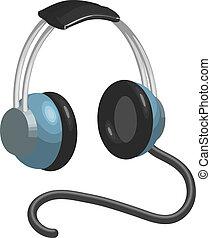 icône, écouteurs, symbole