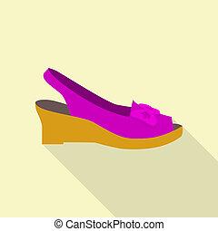 icône, élégant, style, chaussure, plat