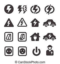icône, électrique, électronique