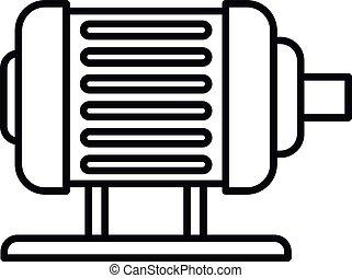 icône, électrique, style, moteur, contour