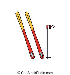 icône, équipement, style, ski, dessin animé