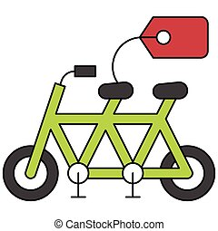 icône, été, apparenté, vélo, vente étiquette, vecteur