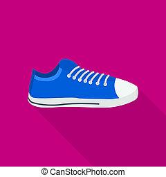 icône, été, style, chaussure, plat