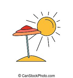 icône, été, style, plage, dessin animé