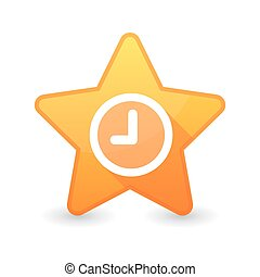 icône, étoile, isolé, horloge