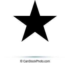 icône, étoile, noir