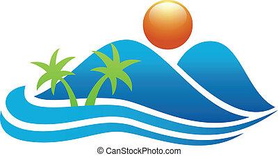 icône, île tropicale