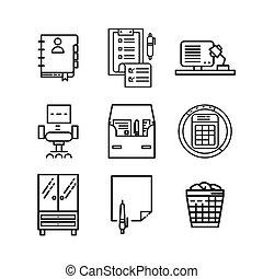 icône, 2, ensemble, bureau, remplir