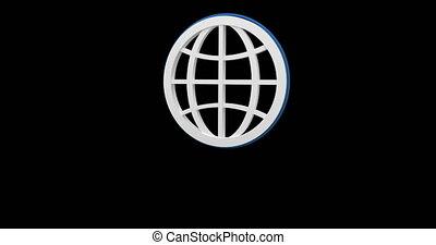 icône, 4k, globe