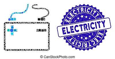icône, accumulator, timbre, mosaïque, textured, électricité