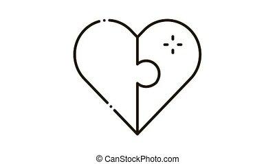 icône, amour, animation, coeur