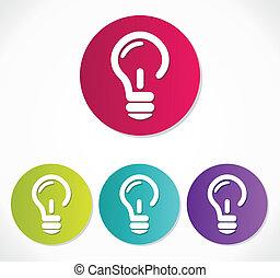 icône, ampoule, lumière