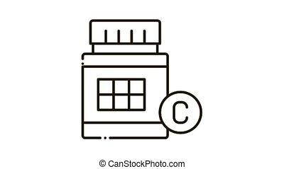 icône, animation, bouteille, vitamine