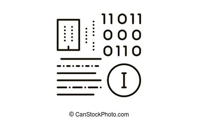 icône, animation, information, binaire