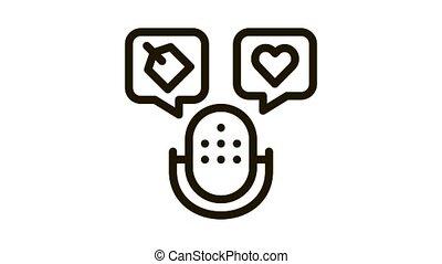 icône, animation, microphone, étiquette