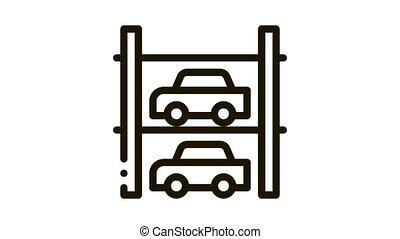 icône, animation, multi-storey, stationnement