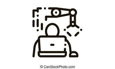 icône, animation, programmation, robot