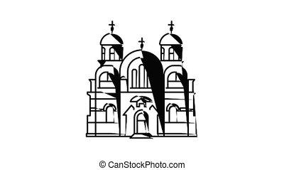 icône, animation, temple