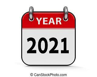 icône, année, calendrier, 2021