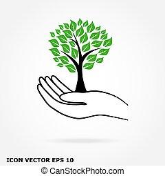 icône, arbre, main